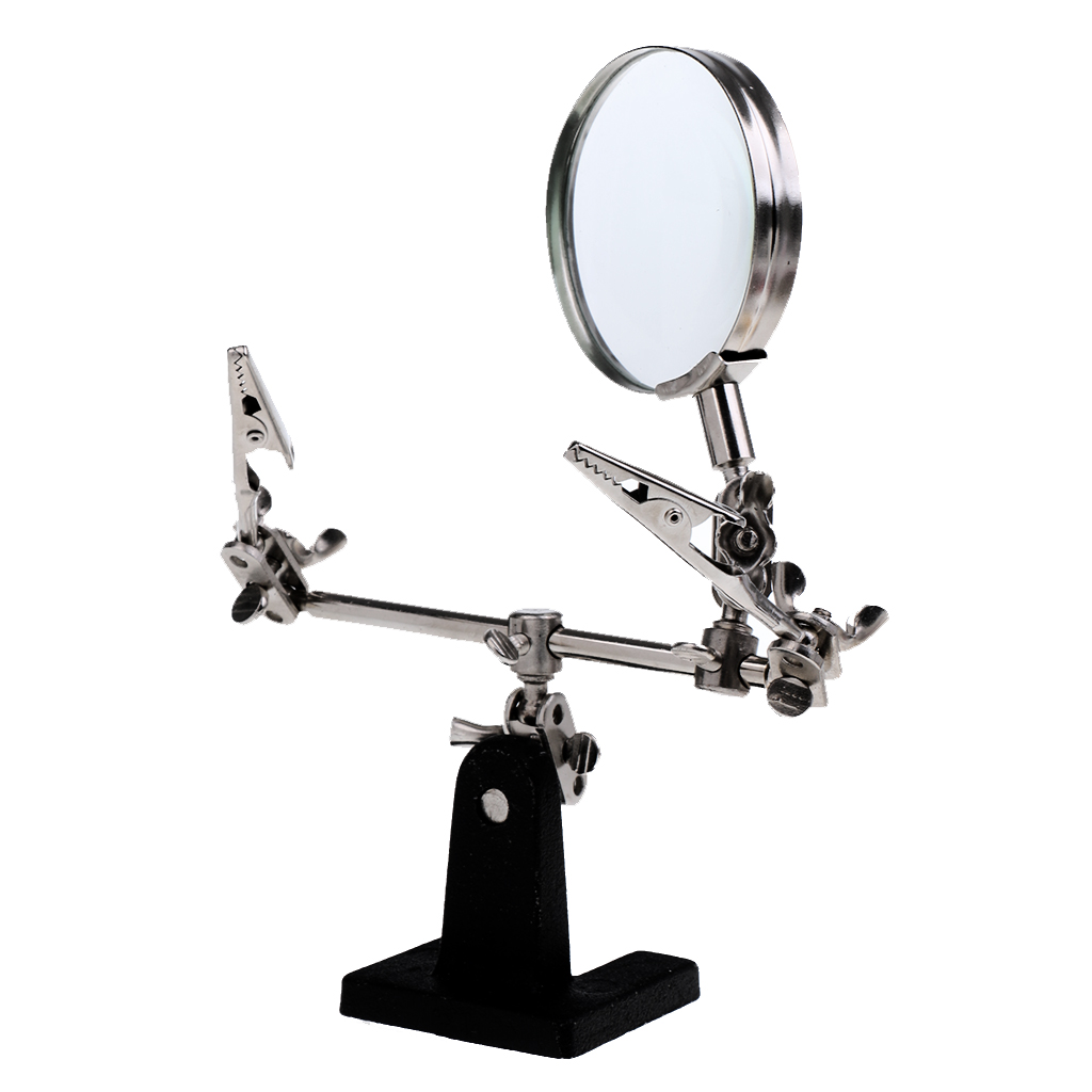 2.5X Third Helping Hand Magnifier With Soldering Iron Stand Crocodile Clips