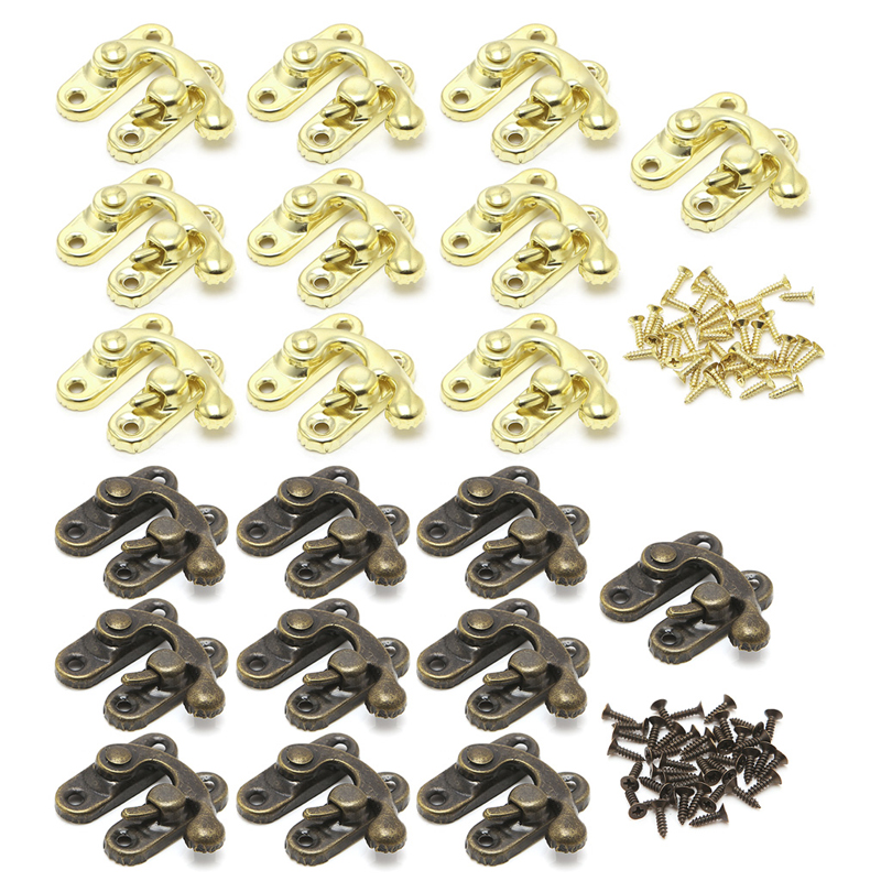 10x Antique Metal Catch Curved Buckle Horn Lock Clasp Hook Gift Jewelry Box Padlock C63E