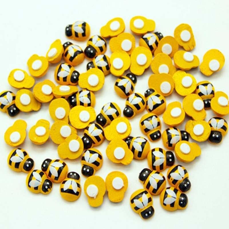 100 pçs/saco mini abelha de madeira diy joaninha adesivos scrapbooking páscoa decoração da parede casa decoração da festa de aniversário decorações