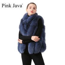 pink java QC19072  new arrival women vest real fox fur coat short  vest gilet winter luxury fur jacket hot sale stand collar