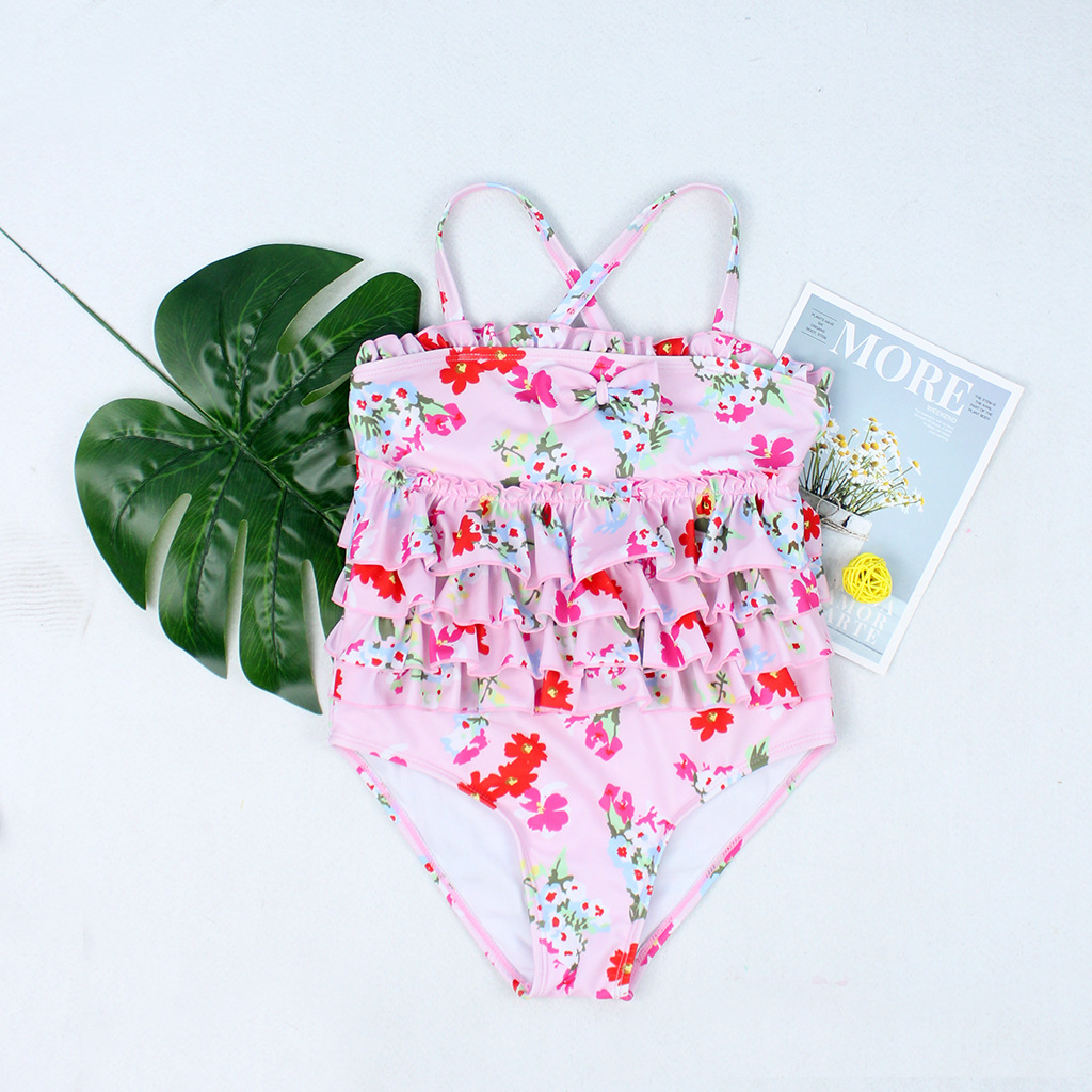 2019 New Style Hot Sales KID'S Swimwear One-piece Flounced Floral-Print Bow Cake Layer Triangular GIRL'S Swimsuit