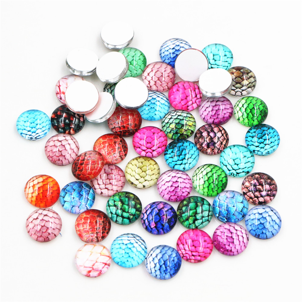 50pcs 8mm And 10mm 12mm-25mm Fish Scale Mixed Handmade Glass Cabochons Pattern Domed Jewelry Accessories Supplies