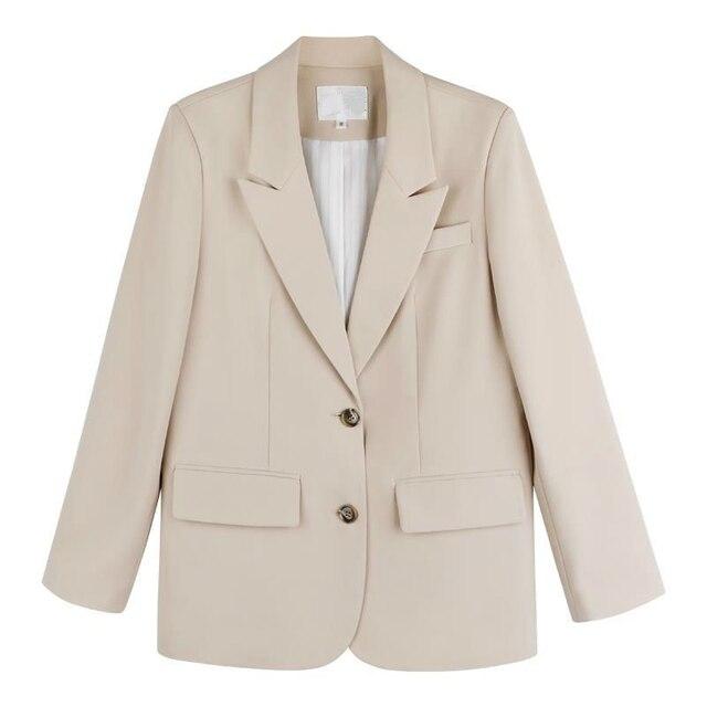 Peonfly New 2021 Autumn Fashion Blazer Jacket Women Casual Korean Pockets Long Sleeve Coat Office Ladies Solid Loose Blazer 6