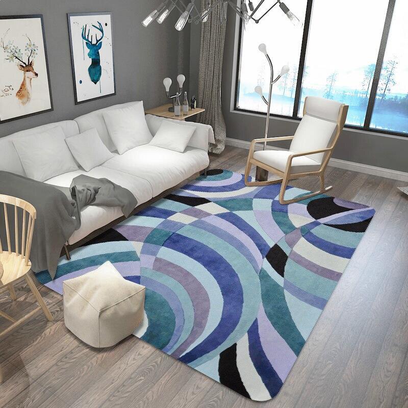 Géométrie grand tapis Pad salon cuisine chambre bande absorbant l'eau tapis salle de bain fang hua dian zi