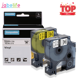 Labelife 2Pcs 18051/18052 Replace for DYMO Wire Marker Rhino Heat Shrink Tubes Tape Cassette Yellow/White 6/9/12mm label maker(China)