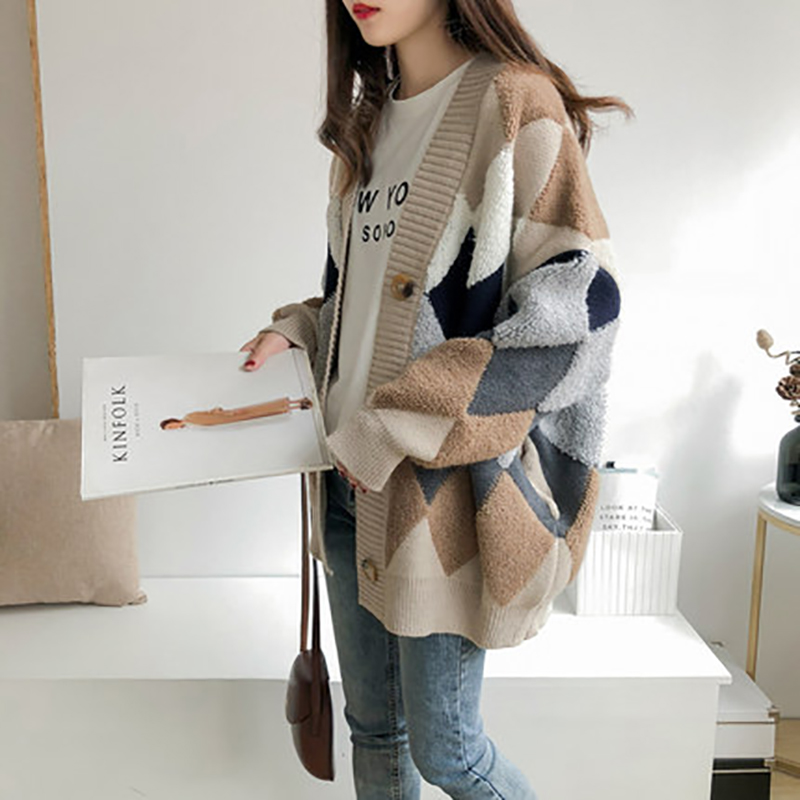 Women's Sweaters Autumn Winter Casual Plaid V-Neck Cardigans Single Breasted Puff Sleeve Loose Knitted Jacket
