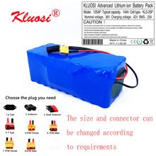 KLUOSI 10S4P 36V 14Ah 36V Battery 42V Lithium Battery Pack 450W 750W Ebike Electric Bicycle Motor Scoote with 25A Balance BMS