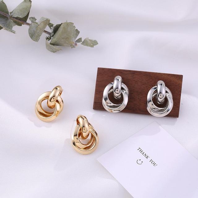 Flashbuy Gold Color Twist Alloy Drop Earrings For Women Simple Geometric Earrings Wedding Fashion Jewelry Trendy Accessories 5