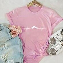 Verão plus size S-5XL camisa nova montanha impressão tshirt 100% algodão camisas femininas o pescoço manga curta t casual rosa topos