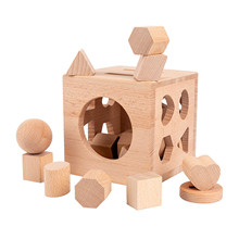 Kids Wooden Shape Sorter Cube Educational Montessori Toys Gift Toddler Baby Stacking & Matching Game Gifts