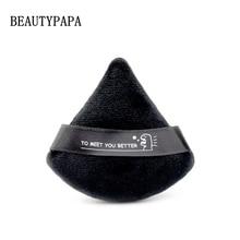 Beautypapa miniesponja para maquillaje, 2 uds. (blanco y negro), almohadillas triangulares de terciopelo para polvo cosmético