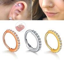クリスタルピアスノーズリング耳珠軟骨フープ鋼ローズゴールド耳リング人格シンプルな小円