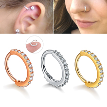 ต่างหูคริสตัลแหวนจมูกหู Tragus กระดูกอ่อน Hoop เหล็ก Rose Gold แหวนหูเล็บบุคลิกภาพเล็กๆวงกลมผู้หญิง