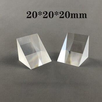 Prisma de ángulo recto de 20x20x20mm, Prisma de reflexión Total de vidrio K9, experimento de enseñanza al por mayor, topografía personalizada