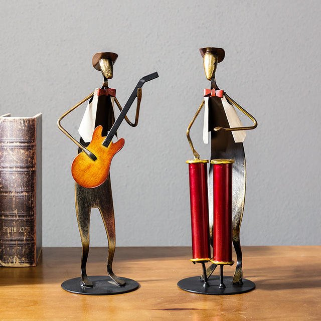 European Metal Iron Man Music Band Figurines Musical Instrument Decor Ornaments Drummer Guitar Home Furnishing Accessories Gift 3