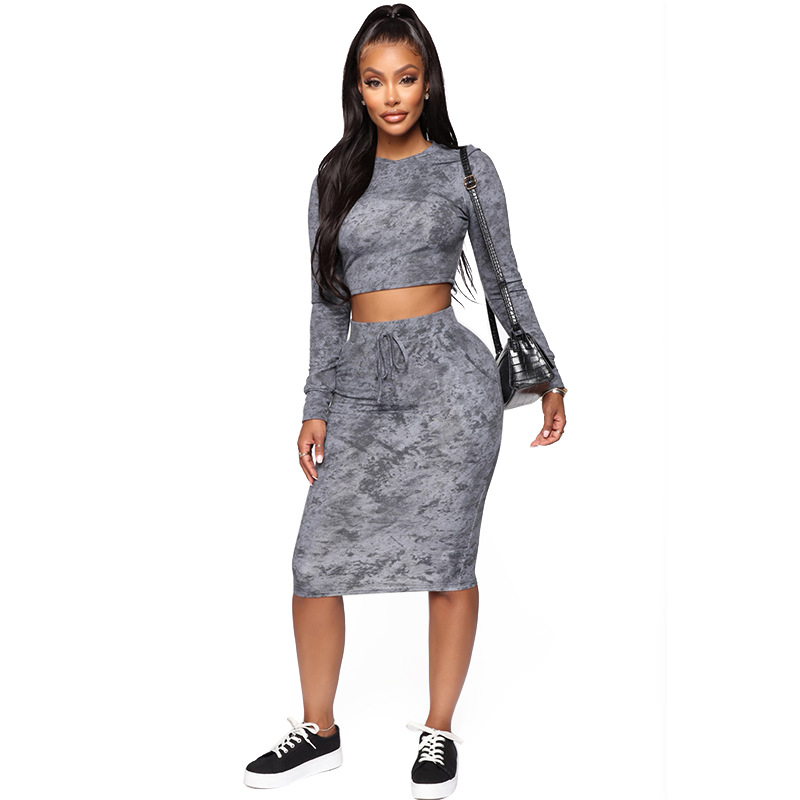 2020 Autumn Women Suit Hot Style Model Long Sleeve Sexy Crop Top &package Hip Skirt European And American Fashion Two Piece Set
