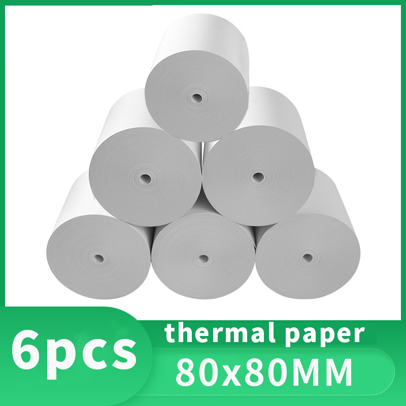Thermal Paper 80x 80 Mm No Core Free 10 Rolls Super Long Mobile Bluetooth Cash Register Paper Roll Papel Termico термобумага