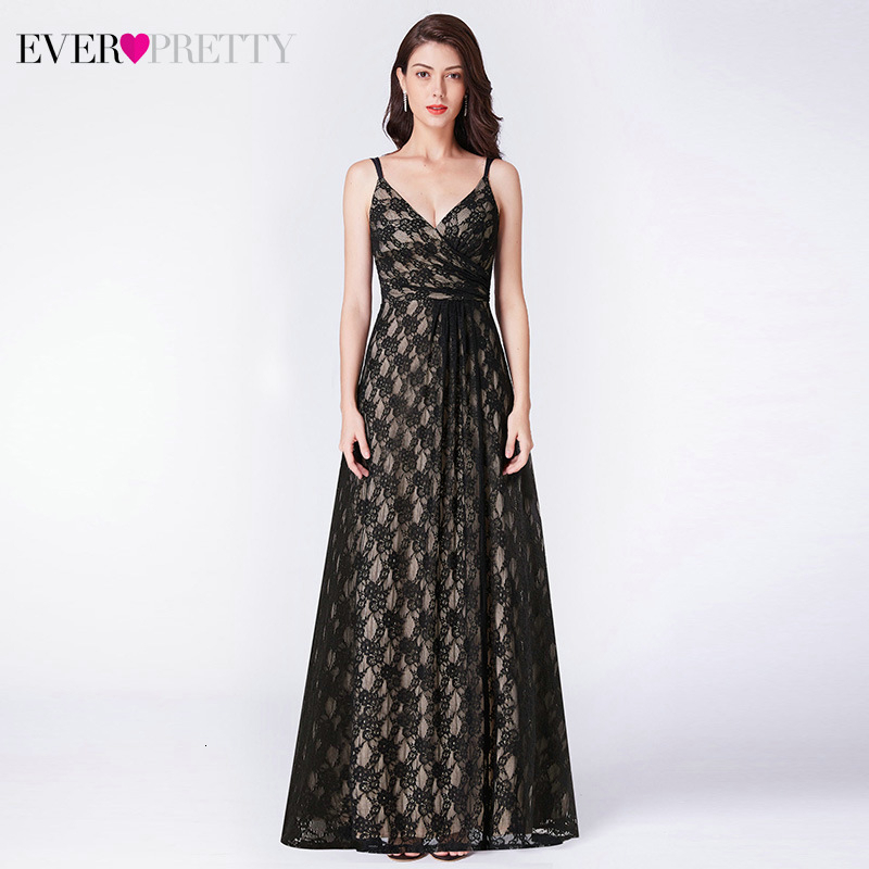 Elegant Black Lace Evening Dresses Long Ever Pretty EP07430BK A-Line V-Neck Spaghetti Straps Illusion Party Gowns Abendkleider