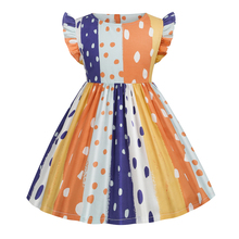 2021 New Arrival  Girl Dress  Casual Wear Children's Wear Summer Short Sleeve cotton Floral Costumes  Polka Dot  Bohemia Fashion