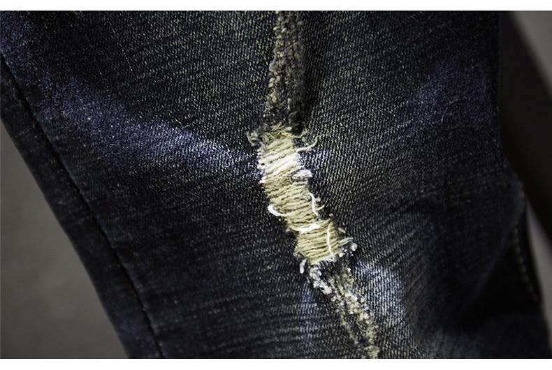 KSTUN Ripped Men Jeans Dark Blue Stretch Slim Fit  Destroyed Broken Holes Denim Pants Casual Biker Jeans Male Hip hop Mens Punk Jeans 15