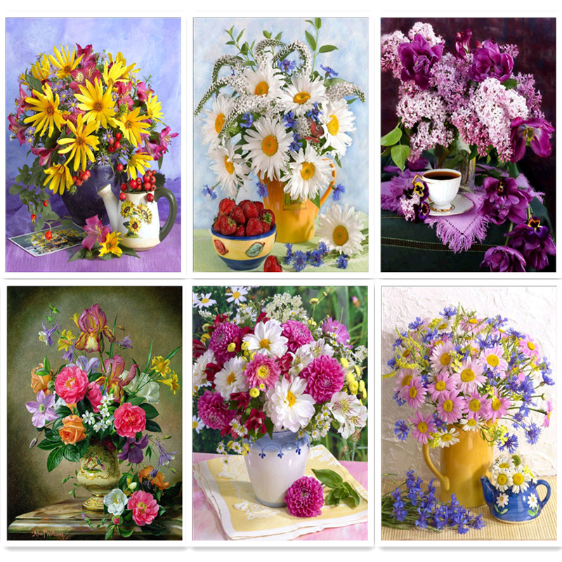 5D DIY diamond painting flower vase cross stitch embroidery mosaic home decoration gift