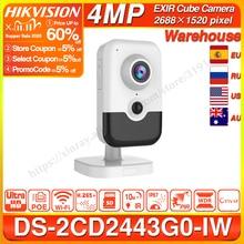 Hikvision DS 2CD2443G0 IW 와이파이 카메라 비디오 감시 4MP IR 고정 큐브 무선 IP 카메라 양방향 오디오 H.265 +