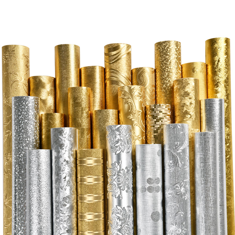 Non Adhesive Wallcoverings 3D Pattern PVC Wallpaper Living Room Waterproof Wall Paper 53cm Width Gold Silver