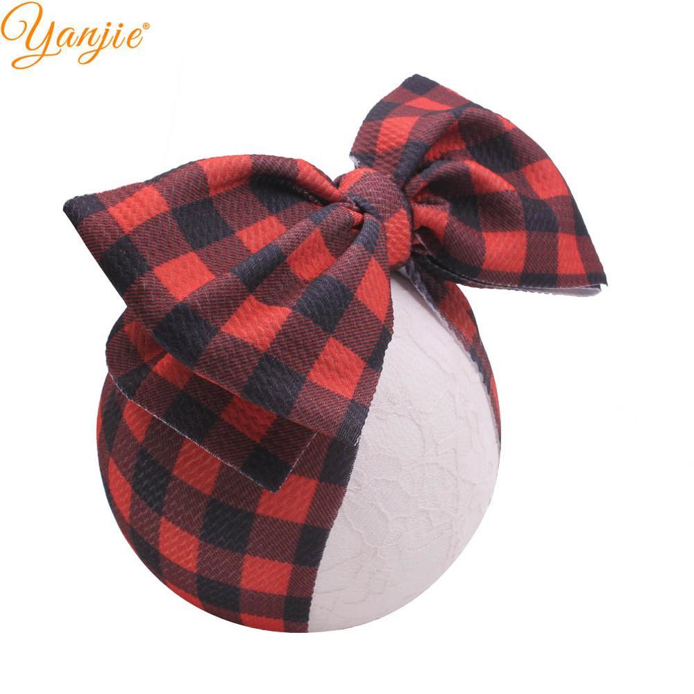 Christmas Knot Headband Snowman Deer Plaid Fabric Hair Bow Elastic Hair Band DIY Hair Accessories For Girls Bows Nylon Headwrap