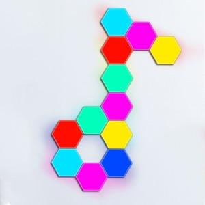 Image 5 - 여러 가지 빛깔의 기하학 Led 육각 패널 양자 램프 터치 민감한 조명 모듈 형 및 이동식 DIY 크리 에이 티브 장식