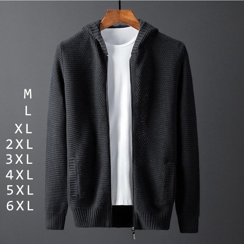 Vestes en tricot solide pour hommes, grande taille, pull à poches capuche, noir, fermeture éclair, coréen, hiver, décontracté