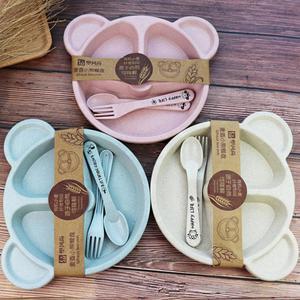 Детская миска + ложка + вилка, набор посуды для кормления, мультяшный медведь, детская посуда, столовая посуда, антигорячая пшеничная соломен...