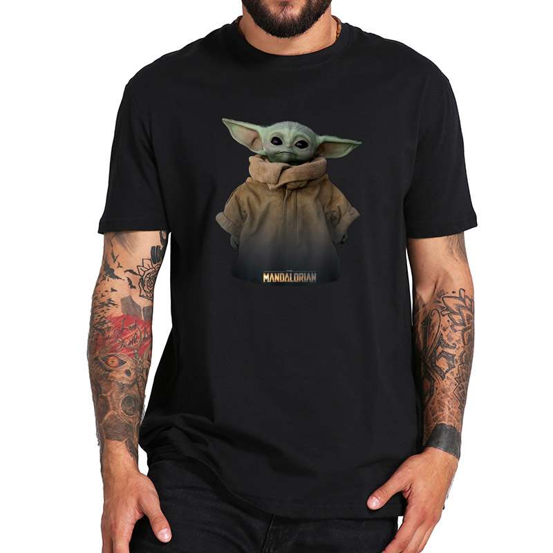 Baby Yoda Tshirt The Mandalorian Star Wars T Shirt Personality Short Sleeved Soft Fitness 100% Cotton T-shirt EU Size
