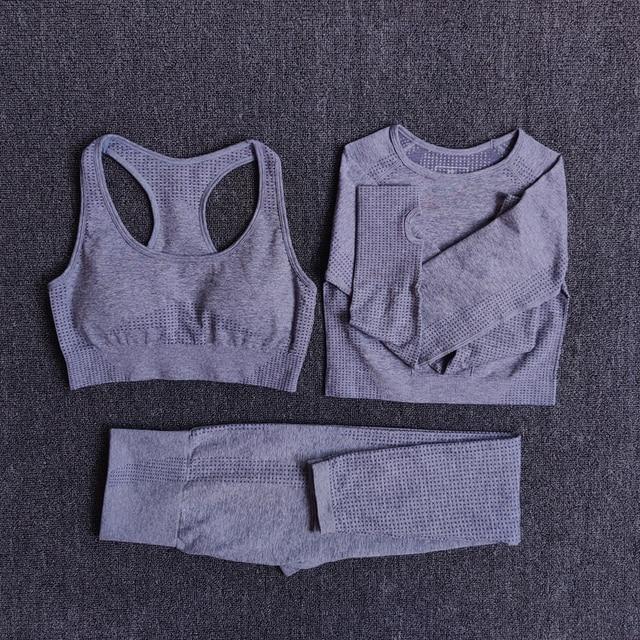 Women Seamless Yoga Set Fitness Sports Suits Gym Clothing Long Sleeve Crop Top Shirts High Waist Running Leggings Workout Pants 3