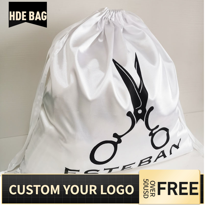 50pcs 50x50cm Large Size White Silk Satin Drawstring Packaging Bag For Shoes Clothes Gift Box Cover Hair Wig Storage Custom Logo