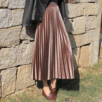 Złota aksamitna długa spódnica kobiety jesień zima 2020 koreański plisowana wysokiej talii dorywczo luźne biuro odzież damska dna Plus Size tanie i dobre opinie Poliester CN (pochodzenie) Osób w wieku 18-35 lat -Line NONE WOMEN Women s skirt Large size mid long skirts empire Stałe