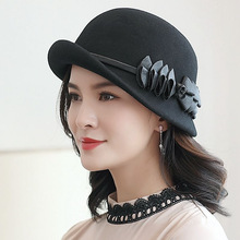 Fedora Hats Beckyruiwu Winter Felt-Hat Brim Party Formal Woman 100%Wool Autumn Chic And
