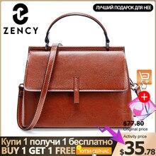 Zency 100% hakiki deri Retro kahverengi kadın büyük el çantası çanta küçük Flap günlük rahat omuz askılı postacı çantaları siyah gri çanta