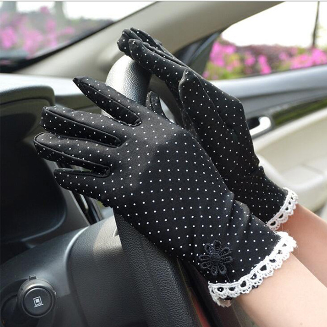 Women's Fashion Cotton Summer Gloves Lace Patchwork Gloves Anti-skid Sun Protection Driving Short Thin Gloves Dot Women Gloves 5
