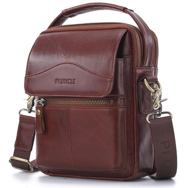ブランドリアルレザーショルダーバッグの男性カジュアルなハンドバッグデザイナーミニトート Messanger バッグ男性マルチコンパートメントハンドバッグ茶色の革