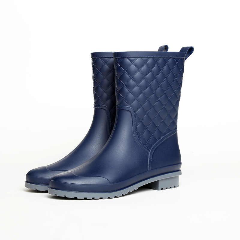 Vrouwen laarzen brand design Laarzen Rain Boot Schoenen Vrouw Solid Rubber Waterdicht Flats Mode Schoenen YYJ77