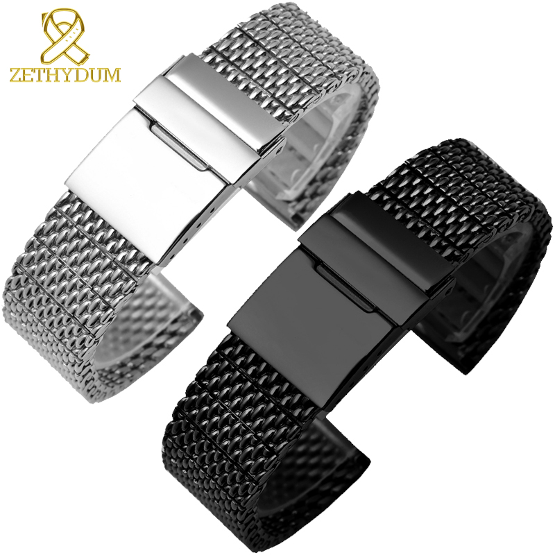 High quality 316L stainless steel watchband solid metal band for <font><b>breitling</b></font> AB2010 Watch <font><b>strap</b></font> mens luxury 22 <font><b>24mm</b></font> mesh bracelet image