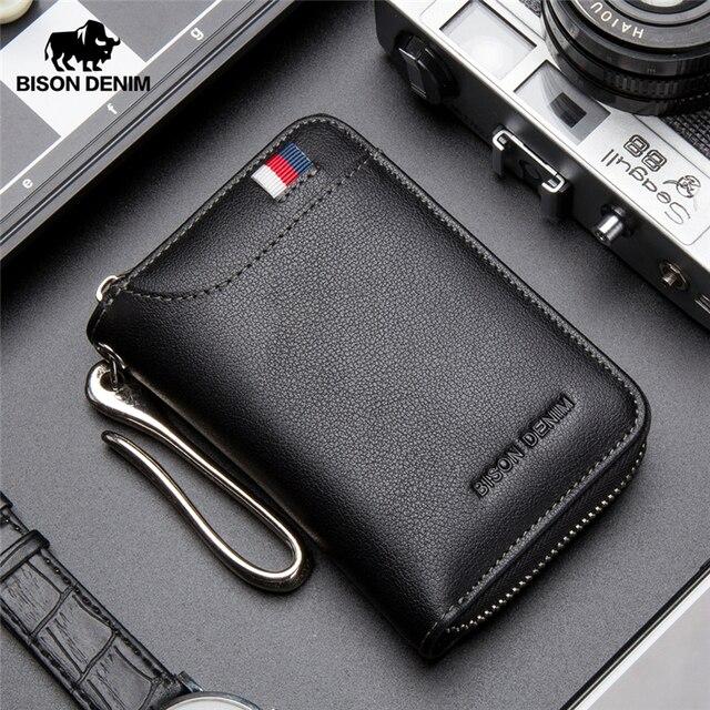 بيسون الدنيم جلد طبيعي مفتاح المحفظة الذكور بطاقة المفاتيح غطاء سستة حامل بطاقة محفظة مفاتيح المنظم سعة كبيرة N9462