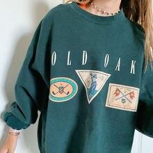 Женский Повседневный пуловер с буквенным принтом длинный рукав