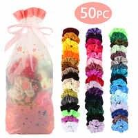 50 cores do vintage cabelo scrunchie pacote elástico veludo scrunchies feminino elástico faixas de cabelo menina headwear liso borracha cabelo laços