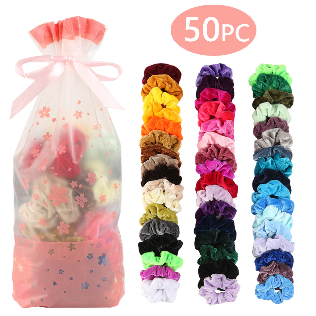 50 Colors Vintage Hair Scrunchie Pack Stretchy Velvet Scrunchies Women Elastic Hair Bands Girl Headwear Plain Rubber Hair Ties