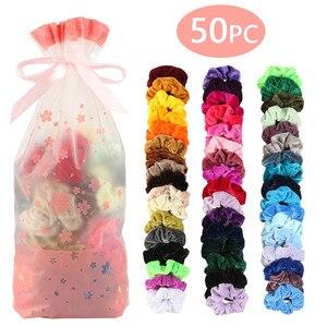 50 Colors Vintage Hair Scrunchie Pack Stretchy Velvet Scrunchies Women Elastic Hair Bands Girl Headwear Plain Rubber Hair Ties(China)