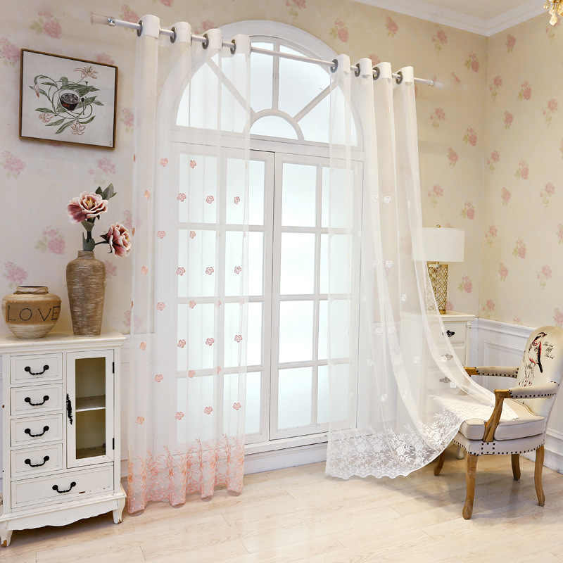 White Rose Embroidered Lace Voile Curtain For Living Room Window Decor Sheer Pink Curtain For Girls Bedroom Custom made M152