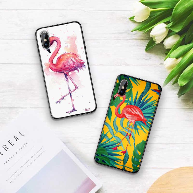 กรณีสำหรับ iPhone 6 6S plus กรณี Black Case สำหรับ iPhone 5 5S SE 7 8 Plus X XS Max XR ฝาครอบ Tropical flamingo