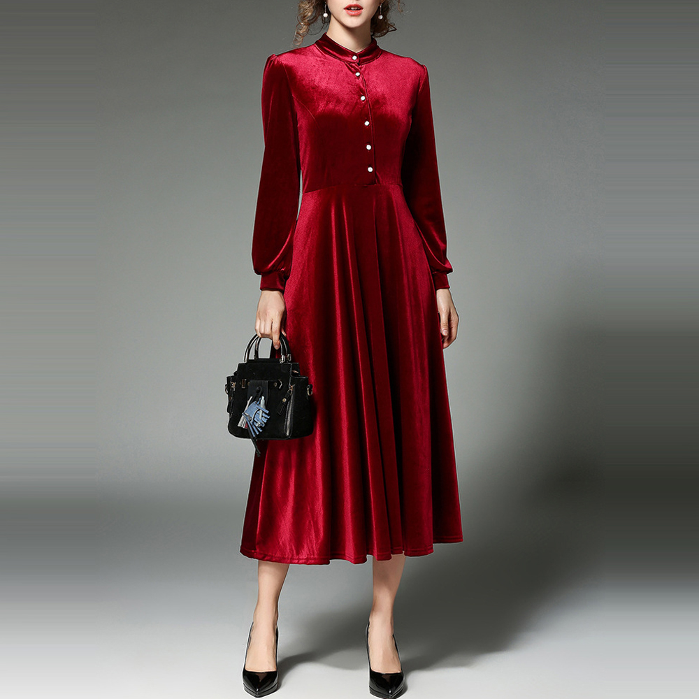 aimenunu samt kleider für frauen herbst winter vintage stehkragen langarm  schwarz rot plus size velour büro party kleider