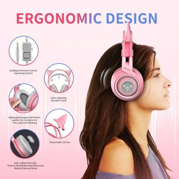 SOMIC G951s Pink Girl Cat Ear Gaming Headphone 3.5mm Plug Cute Headset for PC Xbox one PS4 Phone Pad Girl Kids Gaming Headset 4